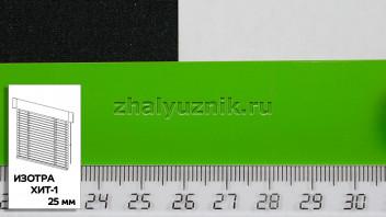 Горизонтальные жалюзи ИЗОТРА ХИТ-1 с ламелями-25 мм, цвет зеленый, глянец, артикул-5713 (Амиго)