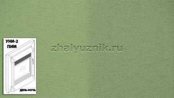 Рулонная штора системы уни-2 с пружиной День-Ночь, с тканью - Альфа зелёный (Амиго)