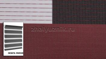 Рулонная штора системы Зебра мини с тканью Стандарт Брусника (Амиго)