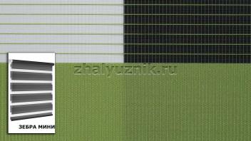 Рулонная штора системы Зебра мини с тканью Стандарт Светло-зелёный (Амиго)