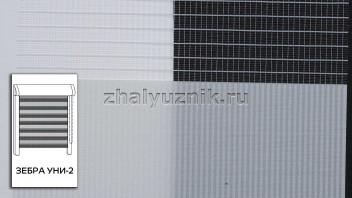 Рулонная штора системы Зебра уни-2 с тканью Стандарт Светло-серый (Амиго)