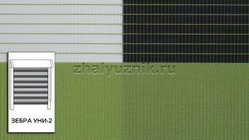 Рулонная штора системы Зебра уни-2 с тканью Стандарт Светло-зелёный (Амиго)
