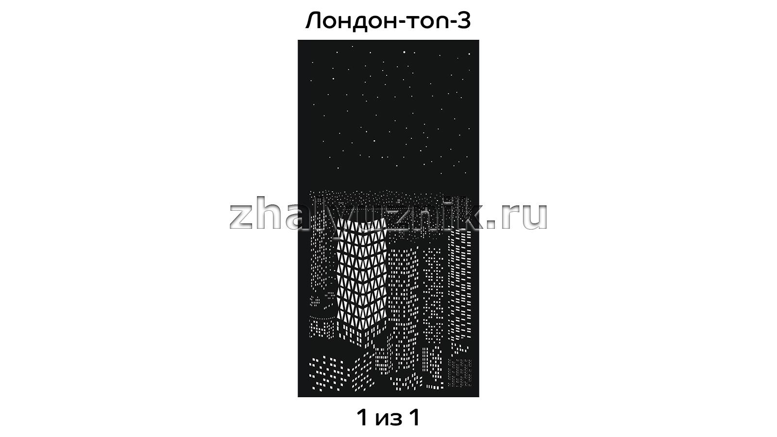 Перфорированная рулонная штора системы D-25 с макетом Лондон-топ-3